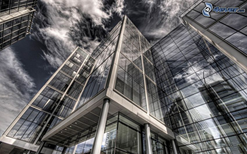 office building, clouds, HDR