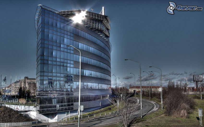 office building, road, sky, HDR