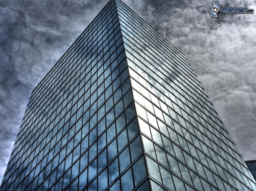 skyscraper, clouds