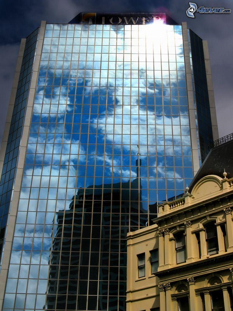 skyscraper, glass, historic building