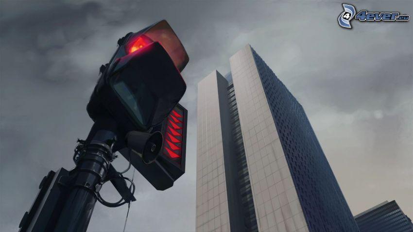 skyscraper, traffic light
