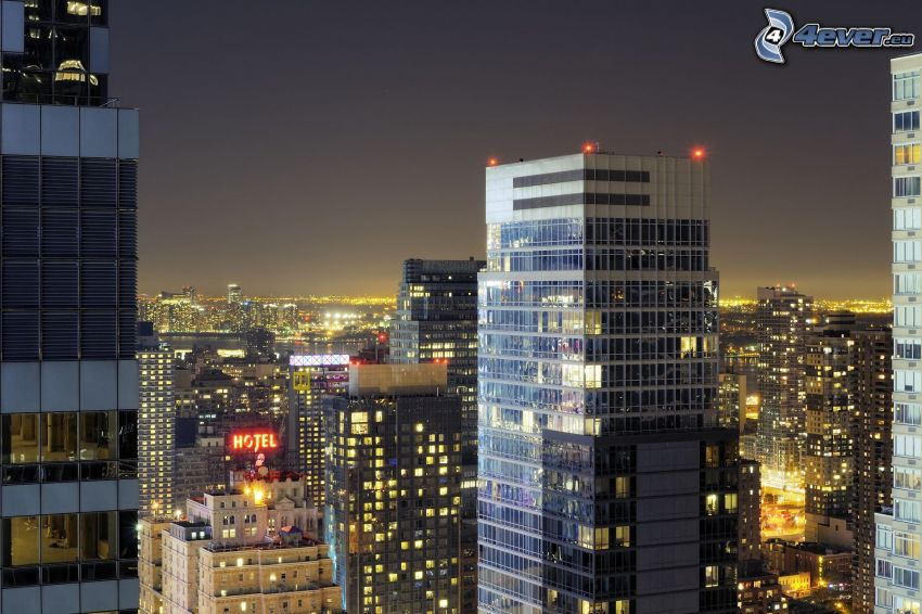 skyscrapers, night city