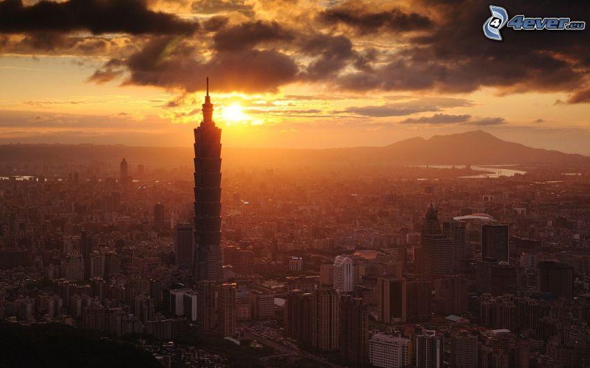 Taipei 101, sunset over a city