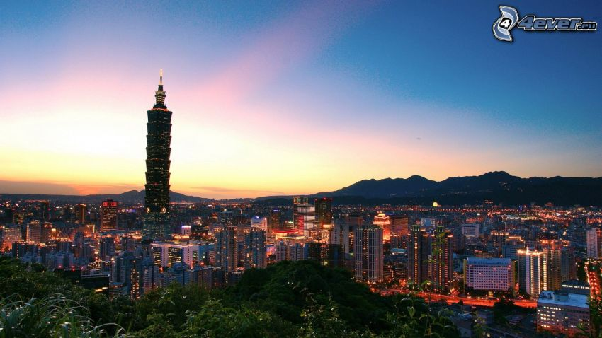 Taipei 101, Taiwan, view of the city, sunset over a city