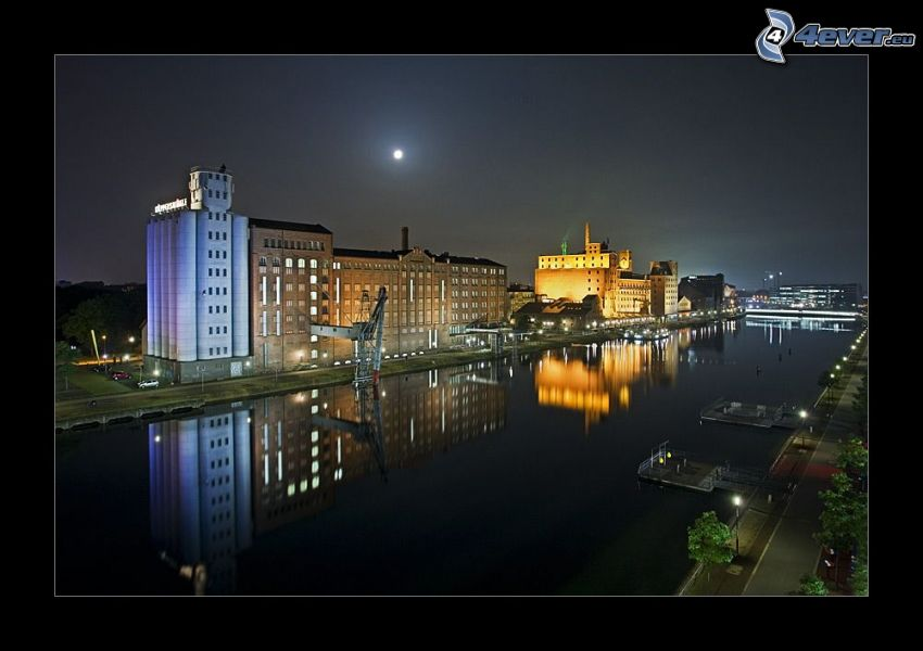 the old factory, houses, River, night, lighting, reflection, moon