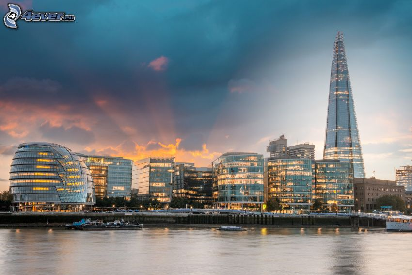 The Shard, London, evening city