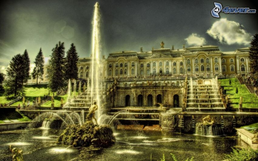 palace, fountain, HDR
