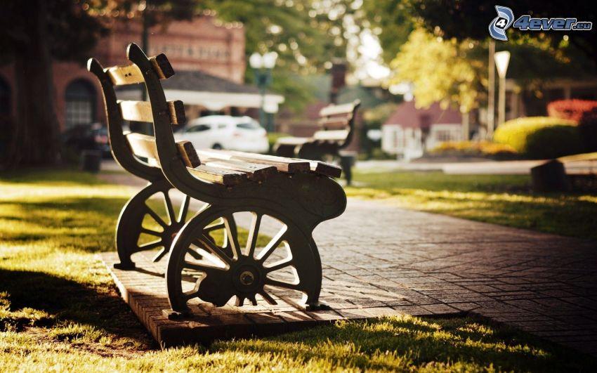 bench in the park, sidewalk