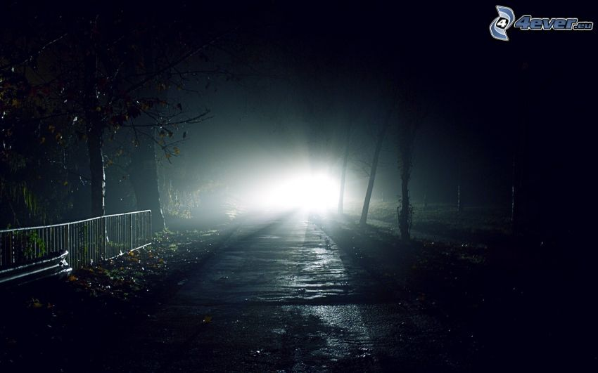 sidewalk, light, night