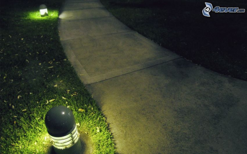 sidewalk, lights, lawn