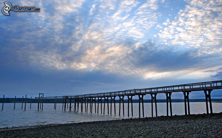 pier, sea, rocky beach