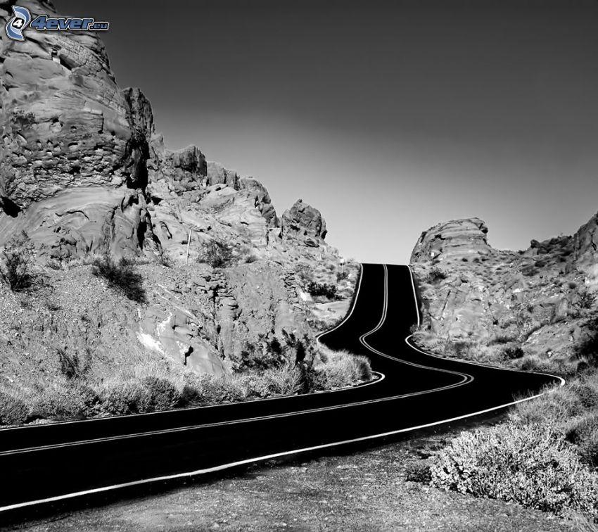 road, rocks, USA
