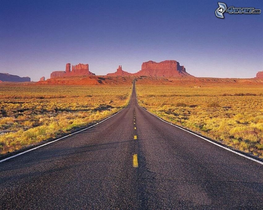 Route 66 US, way through Monument Valley, Colorado, USA