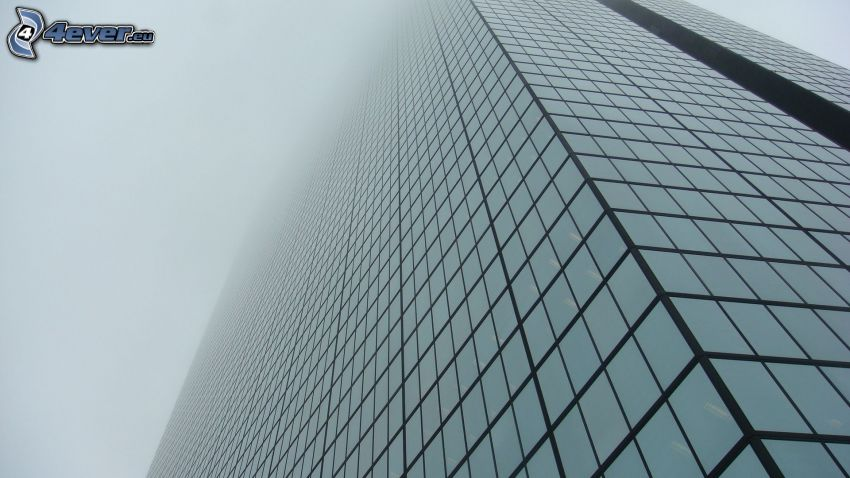skyscraper, fog