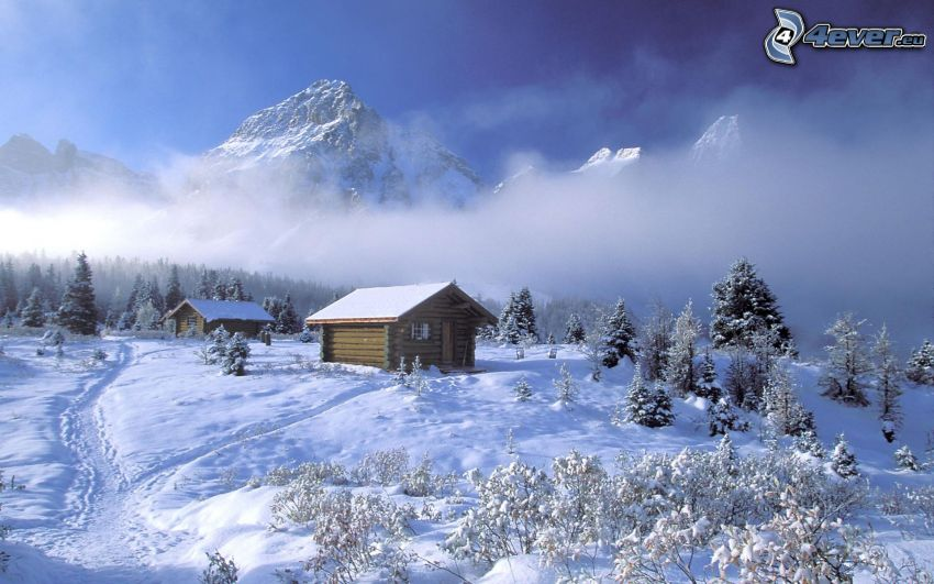 snow-covered cottages, snowy landscape, rocky mountains