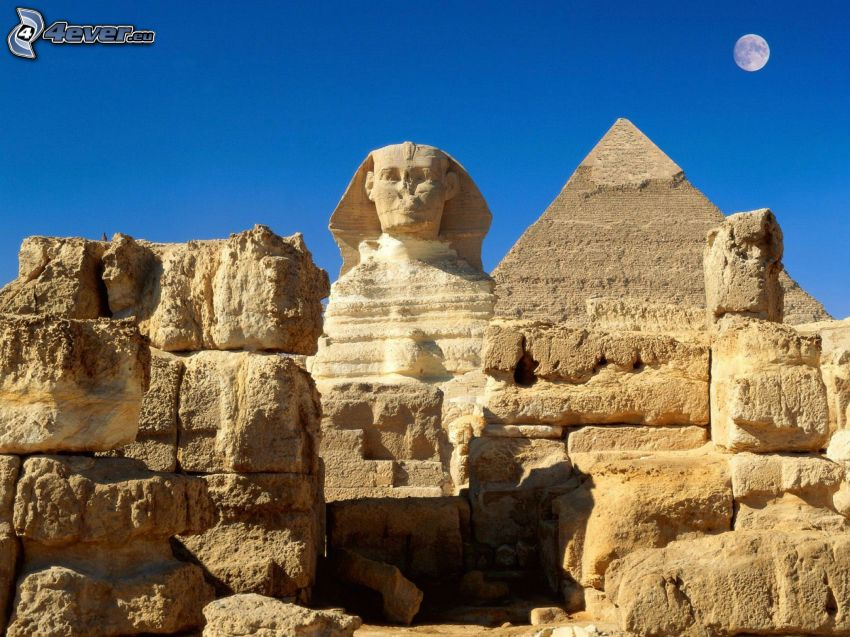 Sphinx, pyramids of Giza, Moon, Egypt