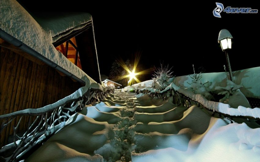 stairs, snow, cottage, street lamp, night