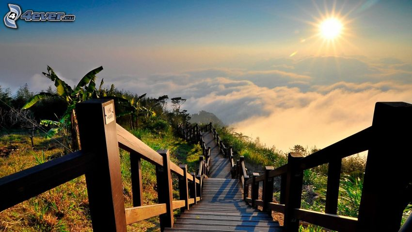stairs, sunset over the clouds