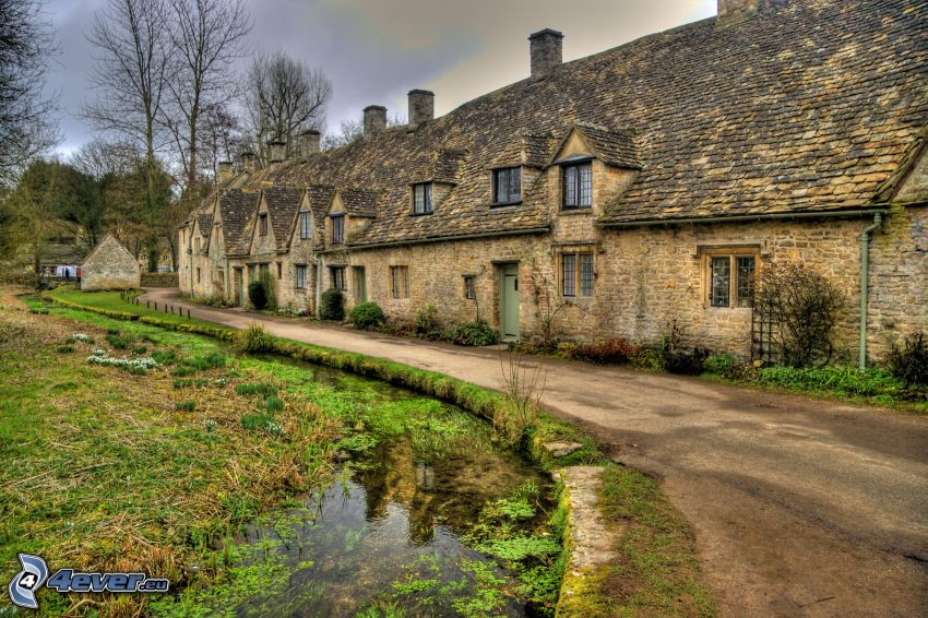 stone house, road, River, HDR