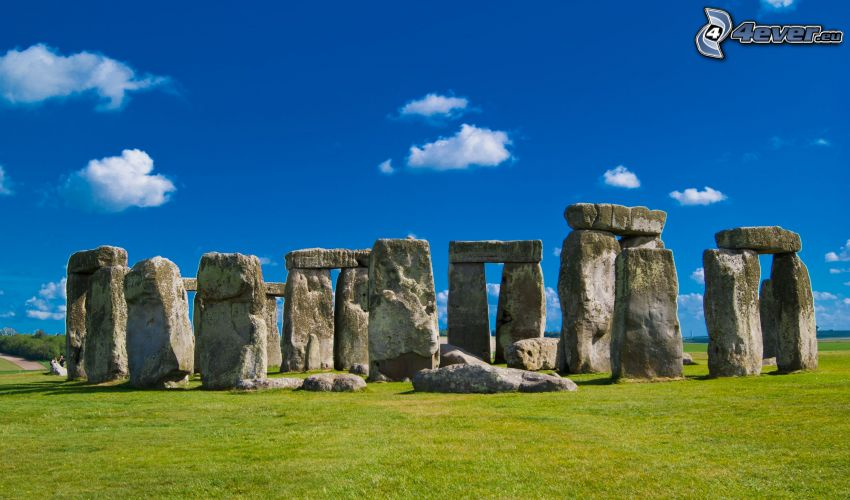 Stonehenge, grass, blue sky, clouds
