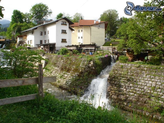 stream through village, houses, stream, waterfall, palings