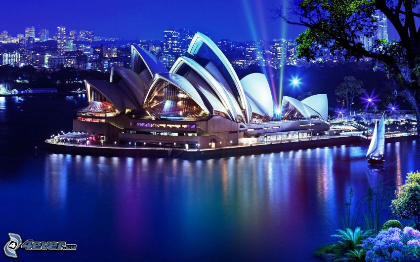 Sydney Opera House, colorful lightning, water