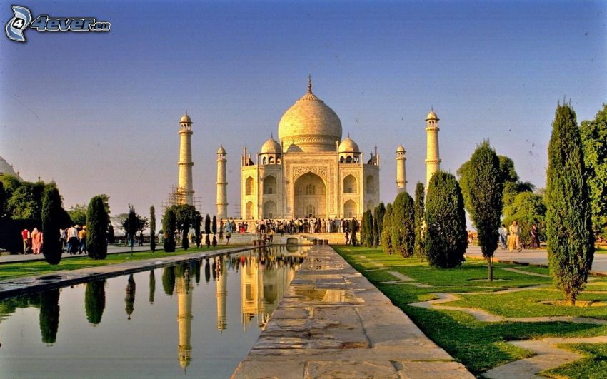 Taj Mahal, mosque, India, avenue of trees, water