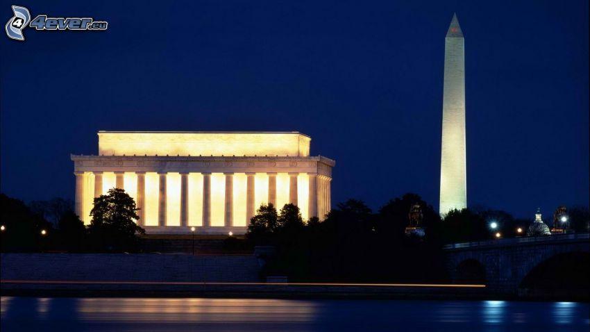 The Obelisk, Washington DC, USA, night, lighting