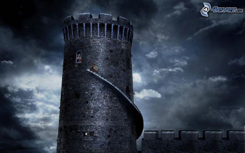 tower, princess, clouds