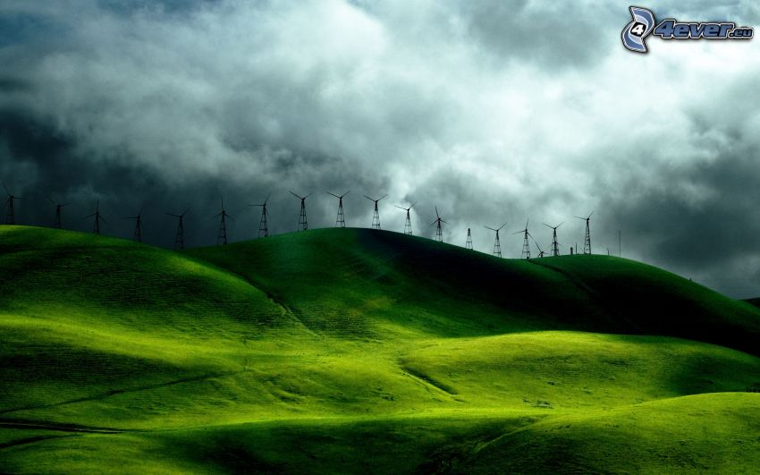 wind power plant, hills, clouds