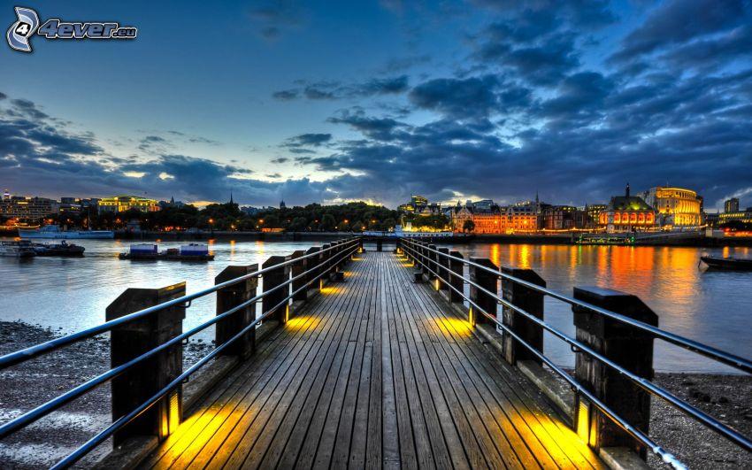 wooden pier, coast, clouds