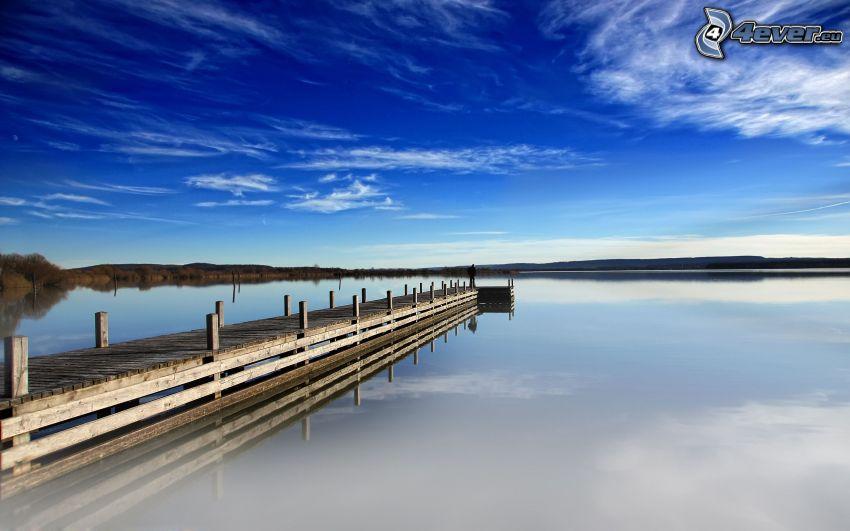 wooden pier, sea, blue sky