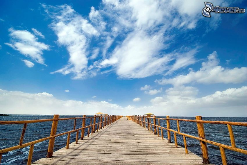 wooden pier, sea, clouds
