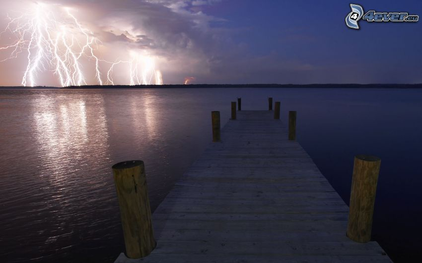 wooden pier, sea, lightning, storm