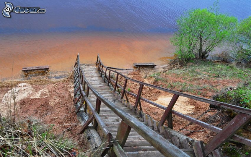 wooden stairs, lake, bushes