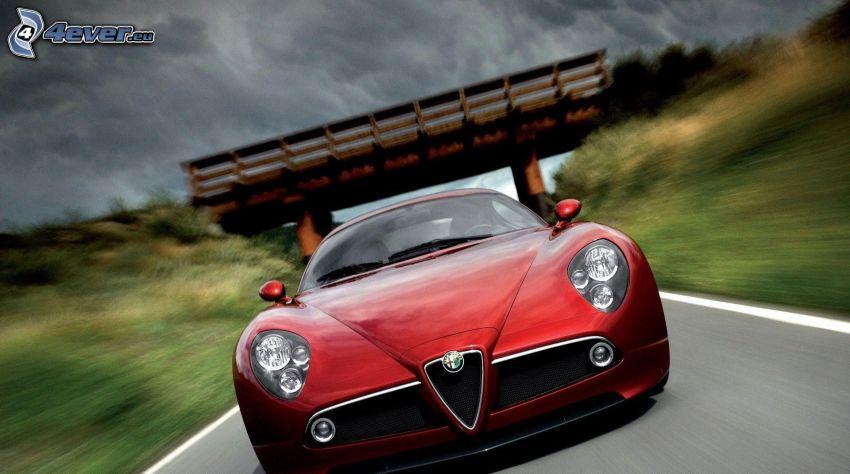 Alfa Romeo 8C, speed, road, clouds