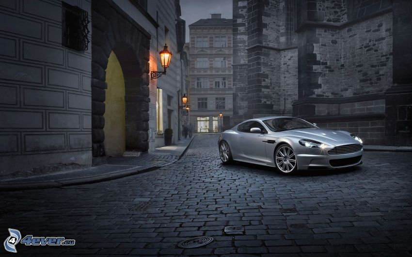 Aston Martin DBS, streets, pavement, buildings