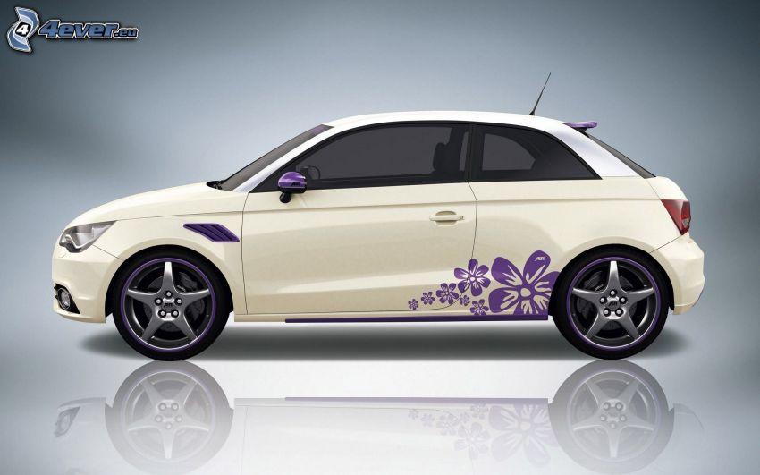Audi A1, purple flowers