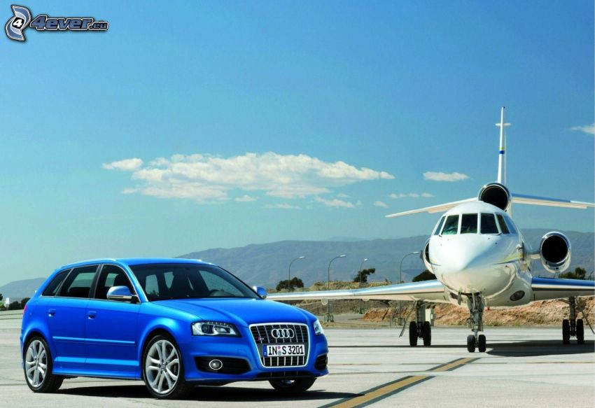 Audi A3, private jet, airport