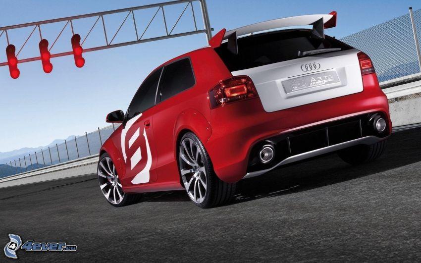Audi A3, traffic lights, racing circuit