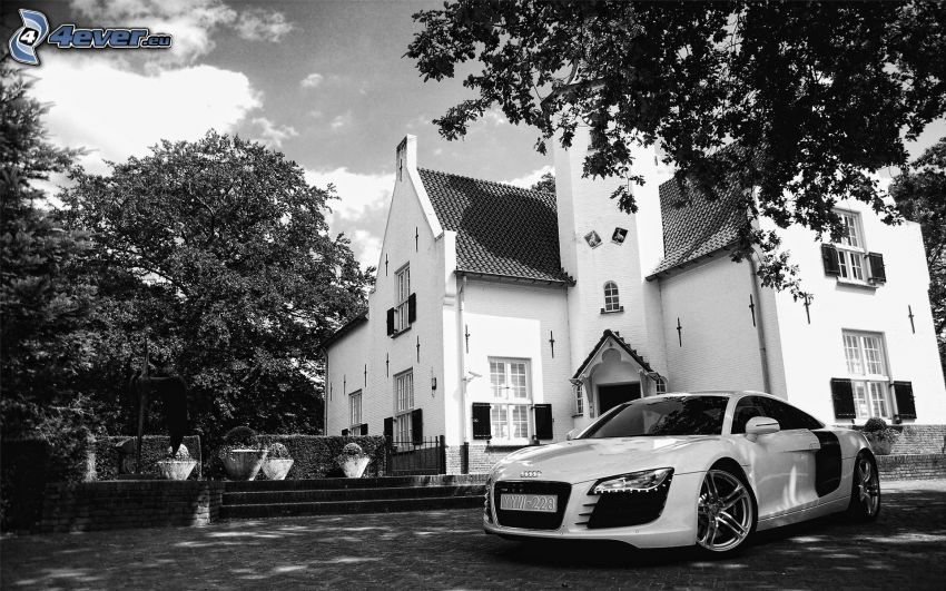 Audi R8, church, black and white
