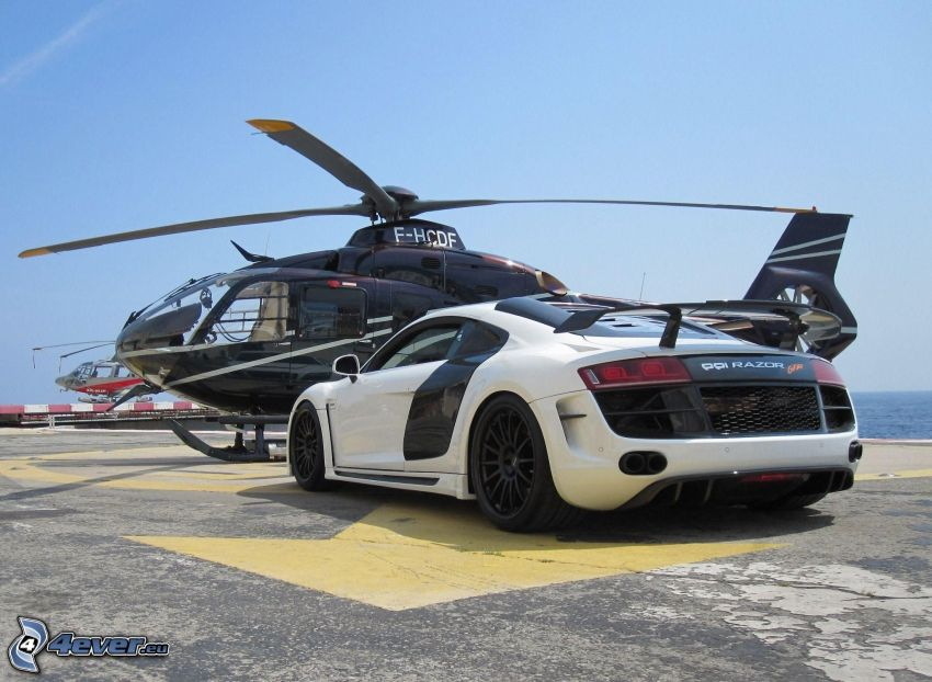 Audi R8, helicopter