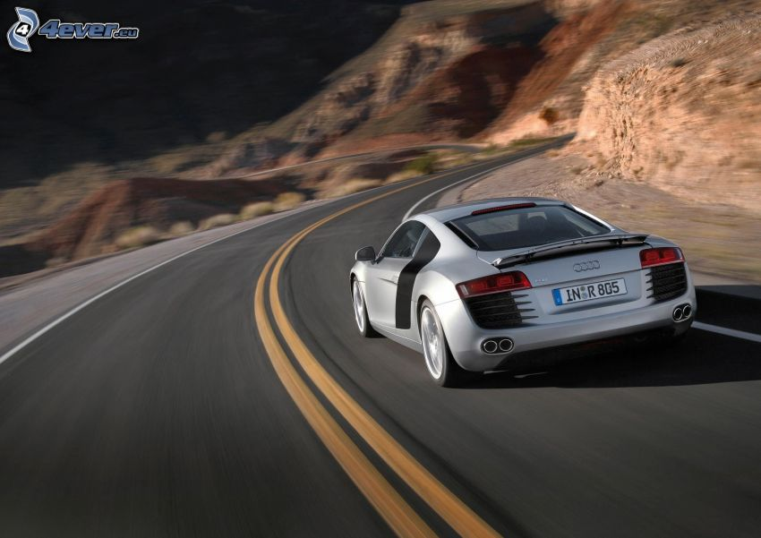 Audi R8, road, speed