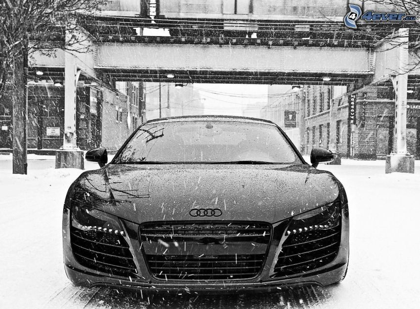 Audi R8, snow, building, black and white