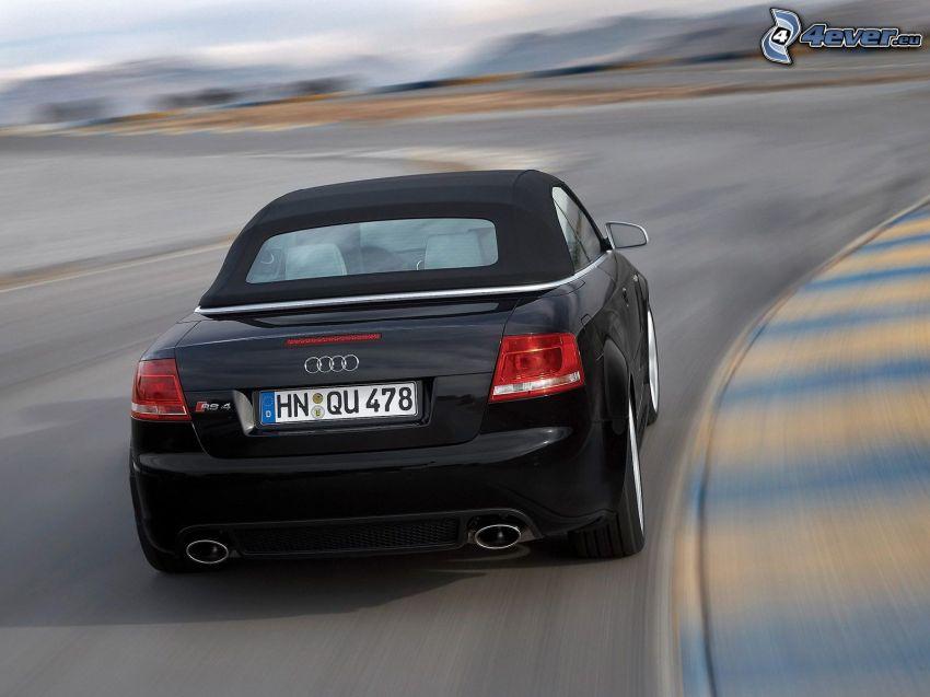 Audi RS4, convertible, speed, racing circuit