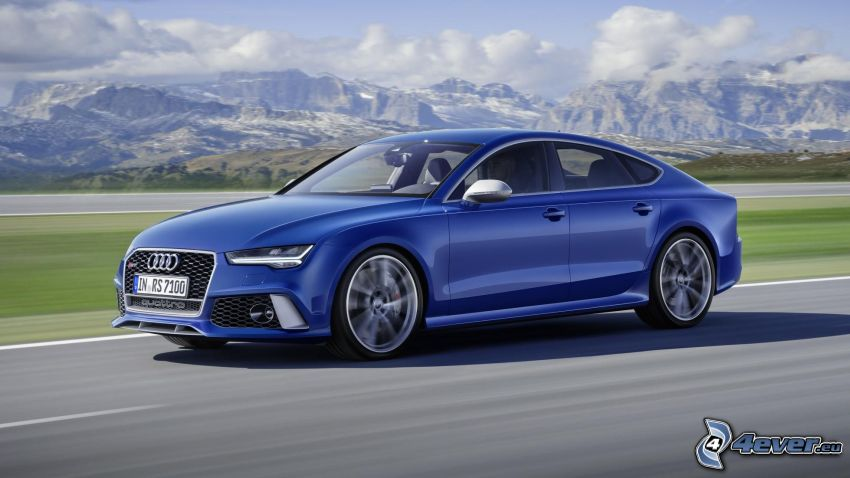 Audi RS7, road, speed, rocky mountains