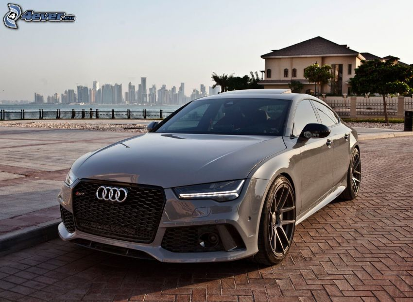 Audi RS7, skyscrapers, luxury house