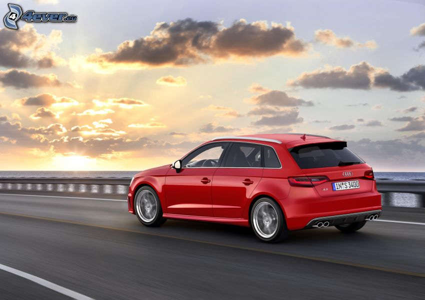 Audi S3, open sea, sunset behind the sea, clouds