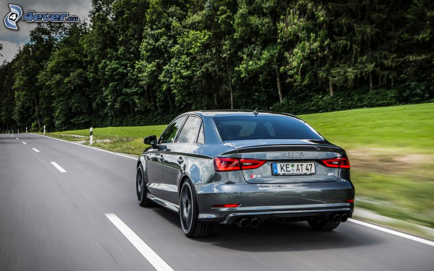 Audi S3, road, forest, speed