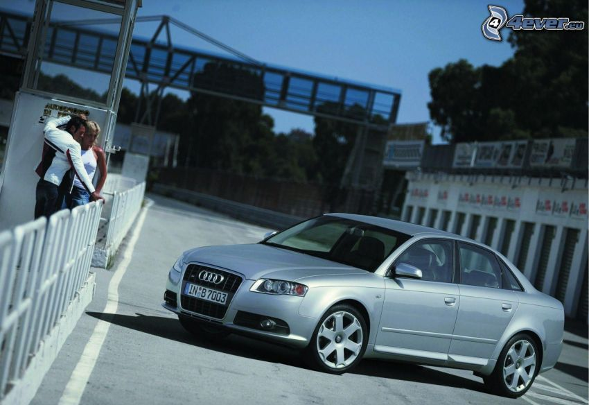 Audi S4, road, man and woman